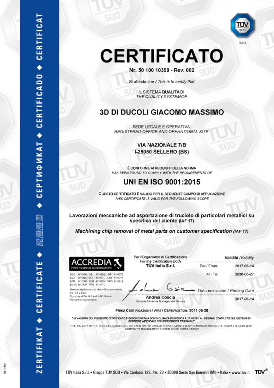 3D Torneria ISO 9001:2015